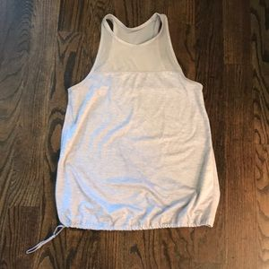 Gray Athletic Tank with drawstring waist.